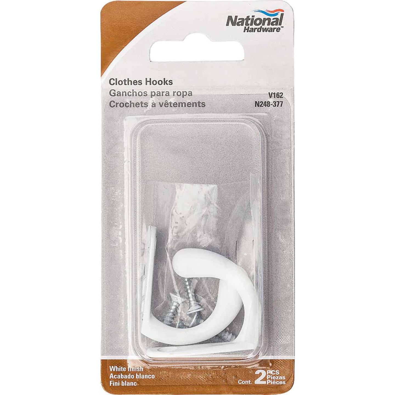 National White Single Cloth Wardrobe Hook, 2 per Card Image 2
