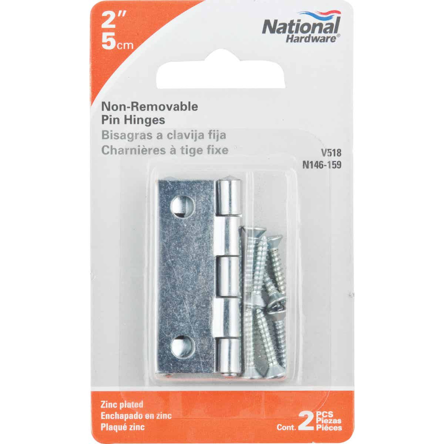 National 2 In. Zinc Tight-Pin Narrow Hinge (2-Pack) Image 2