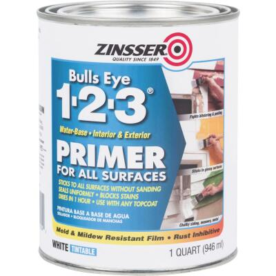 Zinsser Bulls Eye 1-2-3 Water-Base Interior/Exterior Stain Blocking Primer, White, 1 Qt.