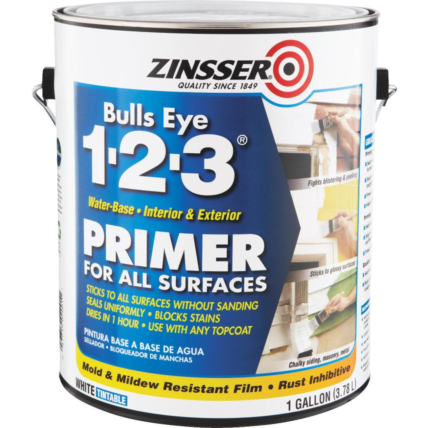 Zinsser Bulls Eye 1-2-3 Water-Base Interior/Exterior Stain Blocking Primer, White, 1 Gal. Image 1