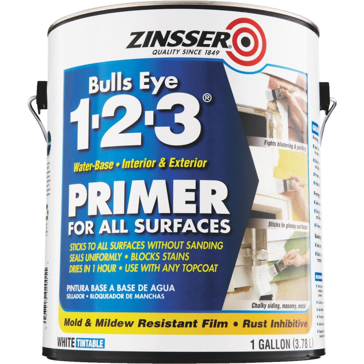Zinsser Bulls Eye 1-2-3 Water-Base Interior/Exterior Stain Blocking Primer, White, 1 Gal. Image 4