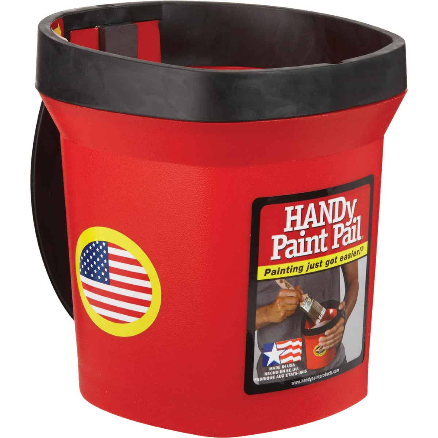 HANDy Paint Pail 1 Qt. Red Painter's Bucket w/Adjustable Strap And Magnetic Brush Holder Image 1