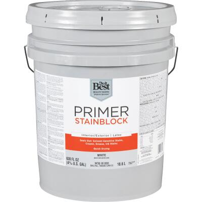 Do it Best Latex Interior/Exterior Stain Blocking Primer, White, 5 Gal.