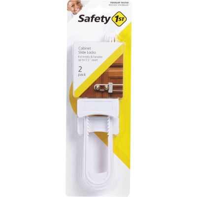 Safety 1st White Squeeze Release Cabinet Slide Lock (2-Pack)